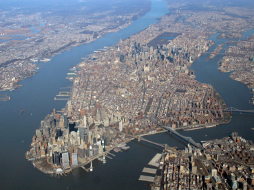 Midtown and Downtown Manhattan.