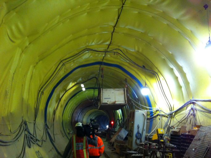 A tunnel with its waterproofing exposed.
