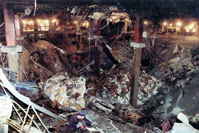 The blast from the bomb created a 100-foot crater, several stories deep and several more high.