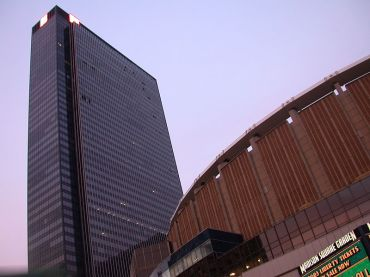 Madison Square Garden, left, and One Penn Plaza.