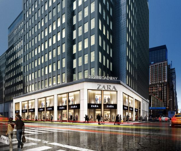 Rendering of the south view of 222 Broadway, home to Zara.