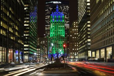 230 Park Avenue in lit in Seattle Seahawks colors for the Super Bowl