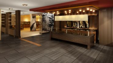A rendering of the lobby at 32 Pearl Street
