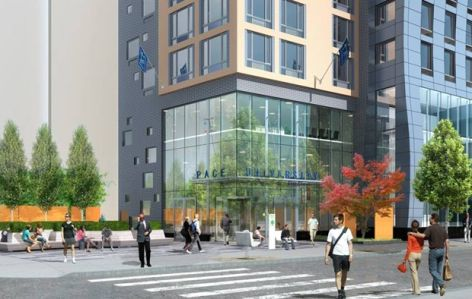 Rendering of the Pace dorm and public space at 33 Beekman Street. (Credit: Naftali Groups website)