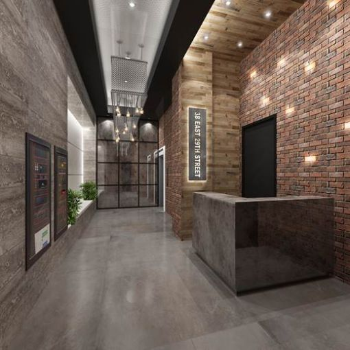 Rendering of lobby at 38 East 29th Street