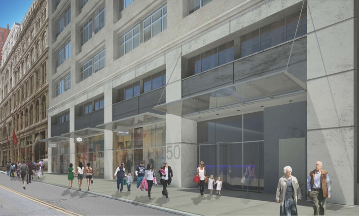 Retail rendering for 50 West 23rd Street. (Two Trees)
