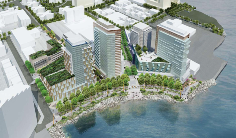 Rendering of the proposed mixed-use development Astoria Cove. (Rendering: STUDIO V).