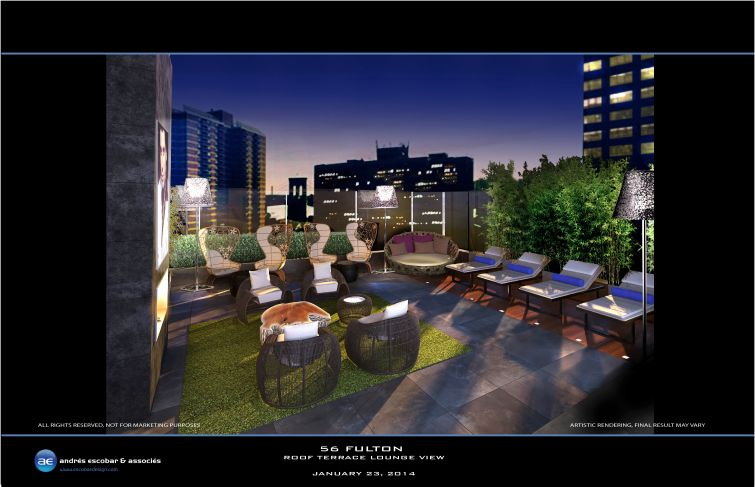 Rendering of the roof lounge at 56 Fulton Street.