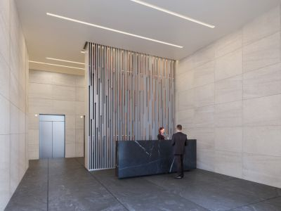 A rendering of the lobby at the renamed 200 West 41st Street. (Neoscape)