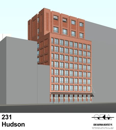 Rendering of 503 Canal Street also known as  231 Hudson Street. (Gene Kaufman)
