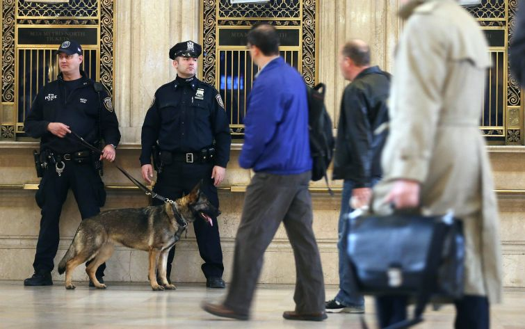 Increased Security In Grand Central Terminal after the Boston Marathon bombing. (Mario Tama/Getty Images)