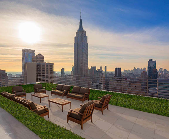 A newly added 1,000-square-foot terrace with views of the Empire State Building, Brooklyn and the Statue of Liberty.