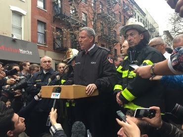 Press conference after an East Village explosion (Photo:  Jillian Jorgensen).