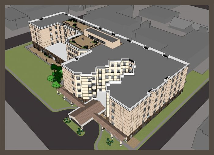 Woodmere Rehabilitation and Healthcare Facility rendering.