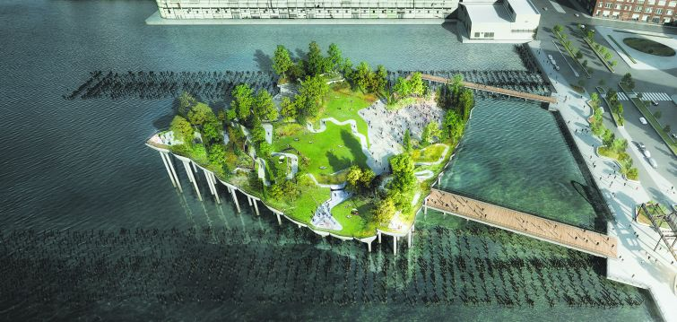 An aerial view of Pier 55 designed by Thomas Heatherwick.