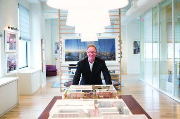 Developer Bruce Eichner in the sales gallery for 45 East 22nd Street (photo: Aaron Adler for New York Observer).