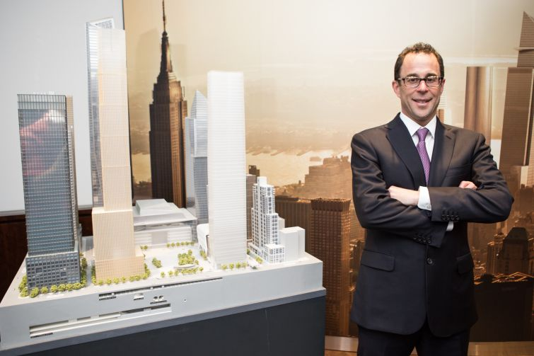 Jeffrey T. Blau with a scale model of Hudson Yards (Photo: Arman Dzidzovic/Commercial Observer).