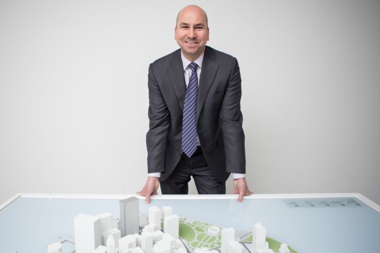 Dennis Friedrich in front of a scale model of Lower Manhattan (Photo: Arman Dzidzovic/Commercial Observer).