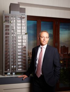 Miki Naftali at the sales office for 210 West 77th Street ( Yvonne Albinowski/For Commercial Observer)