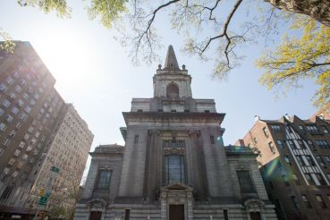 The landmarked former Church of Christ, Scientist at 361 Central Park West (Photo: Aaron Adler/ for New York Observer).