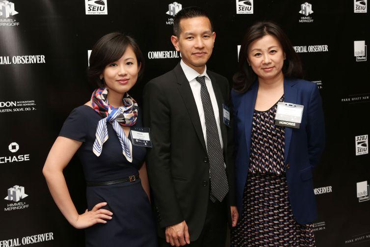 Wenni Wu, Derrick Do, Wendy Cai-Lee== Commercial Observer Power 100 And Power 50== Park Hyatt New York, Onyx Room, NYC== June 17, 2015== ©Patrick McMullan== photo - J Grassi/PatrickMcMullan.com== ==