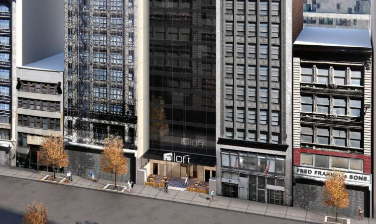 Rendering of Aloft hotel at 25 West 38th Street (Image: Nobutaka Ashihara Architect).