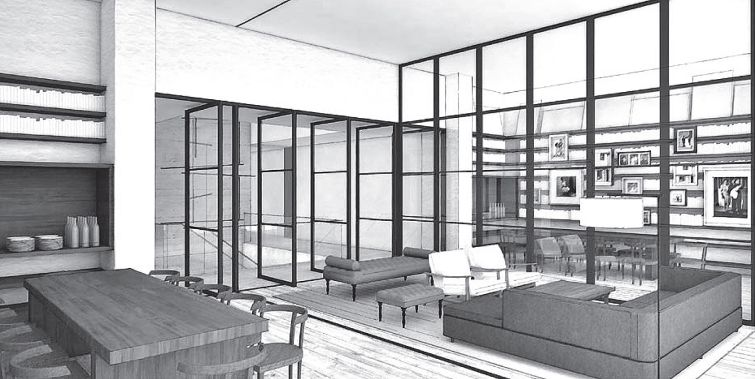Rendering of the library at tommie at 11 East 31st Street.