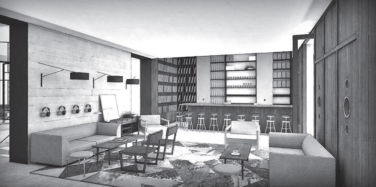 Rendering of the listening lounge at the tommie hotel at 11 East 31st Street.