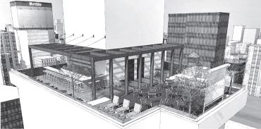 Rendering of the rooftop of the tommie hotel at 11 East 31st Street.