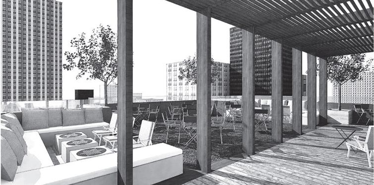 Rendering of the rooftop at tommie hotel at 11 East 31st Street.