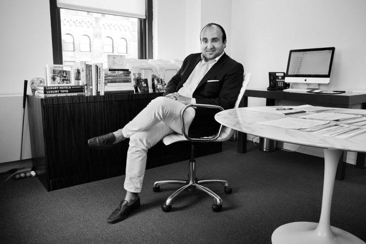 Steven Kamali of Steven Kamali Hospitality in his office (Photo: Celeste Sloman/ for Commercial Observer).