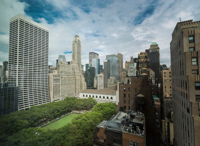 View of the park and surrounding buildings from 7 Bryant Park (Photo: Sasha Mazlov/For Commercial Observer).