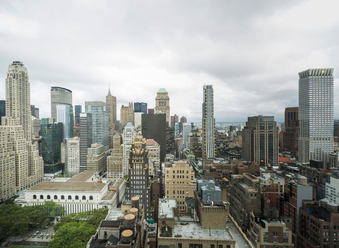 Buildings surrounding Bryant Park in the distance (Photo: Sasha Mazlov/For Commercial Observer).
