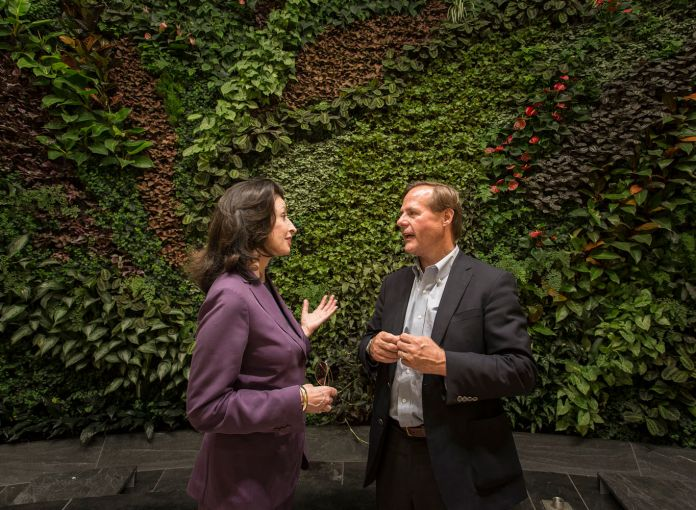 The living wall will be another social gathering spot. (Photo: Sasha Mazlov/For Commercial Observer).