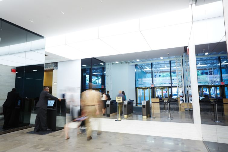 The new lobby at 605 Third Avenue.