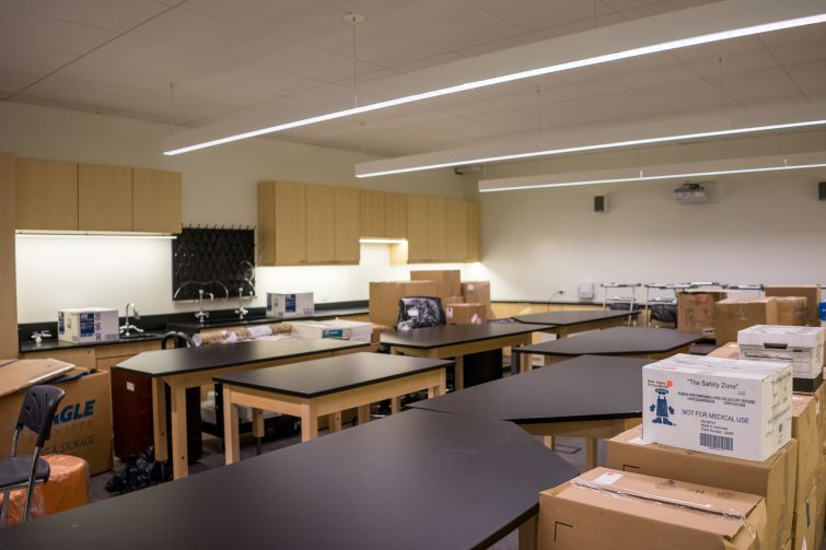 One of the science labs waits to be unpacked (Photo: Jake Naughton).