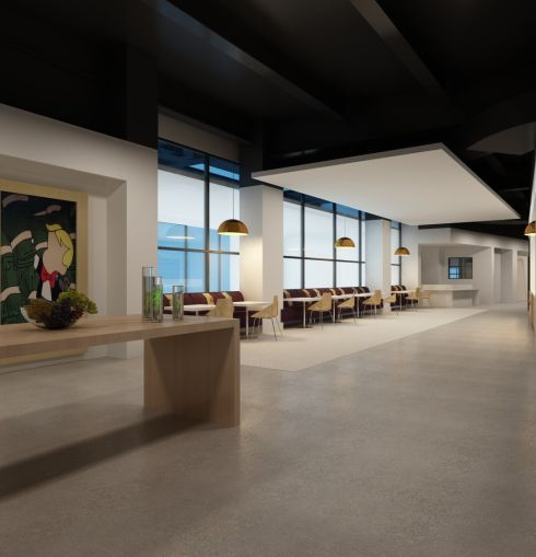 A rendering of a dinning area at Convene's venue in 237 Park Avenue.