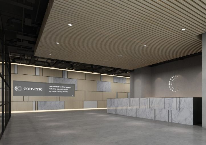 A rendering of the lobby at Convene's space in 237 Park Avenue.