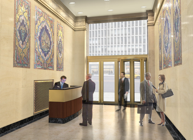 Image of the lobby at 550 Seventh Avenue.