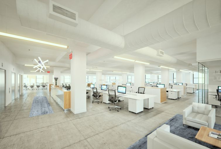 Rendering of DKI's space revitalized at 550 Seventh Avenue.