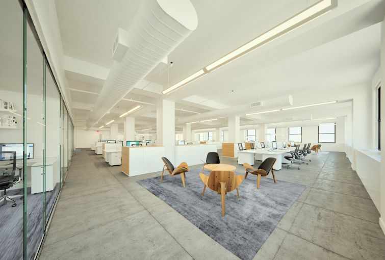 Modern office common areas at DKI's 550 Seventh Avenue space.