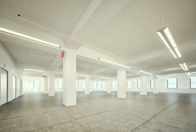 Rendering of DKI's 550 Seventh Avenue space with a wide open floor plate.