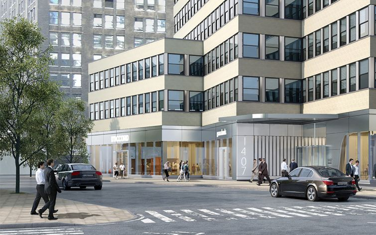 Rendering of the exterior of 1407 Broadway (Rendering: Fogarty Finger).