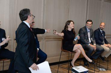 Moderator Jonathan Mechanic with panelists MaryAnne Gilmartin, Joseph Cirone and Jim Brett.