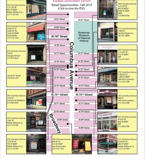 Columbus Avenue BID's list of retail opportunities on the Upper West Side (Image: BID website, Oct. 12, 2015).