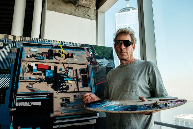 Todd Stone in his studio at the World Trade Center (Photo: Chris Sorenson for Commercial Observer).
