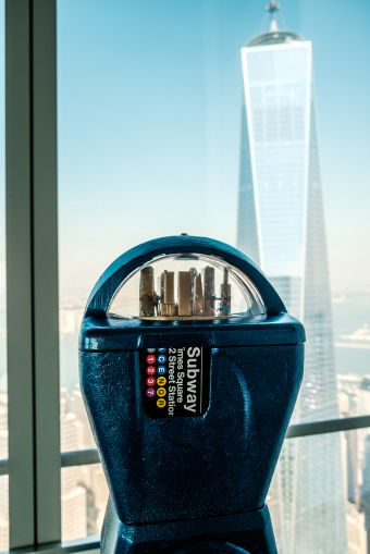 Mr. Stojak refashions parking meters from the 67th floor of 4 World Trade Center (Photo: Chris Sorenson for Commercial Observer).