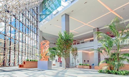 South Street Atrium Lobby at 180 Maiden Lane with Professionally-Curated Rotating Art Galleries