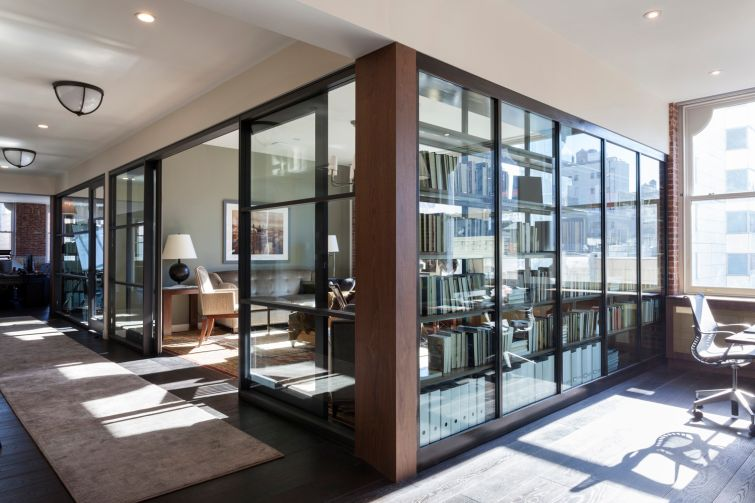 Photography: Fran Parente |  Commercial space meets residential feel in this impressive Union Square work environment, which features abundant natural light, a class-A library and an inviting pantry as a communal gathering spot.
