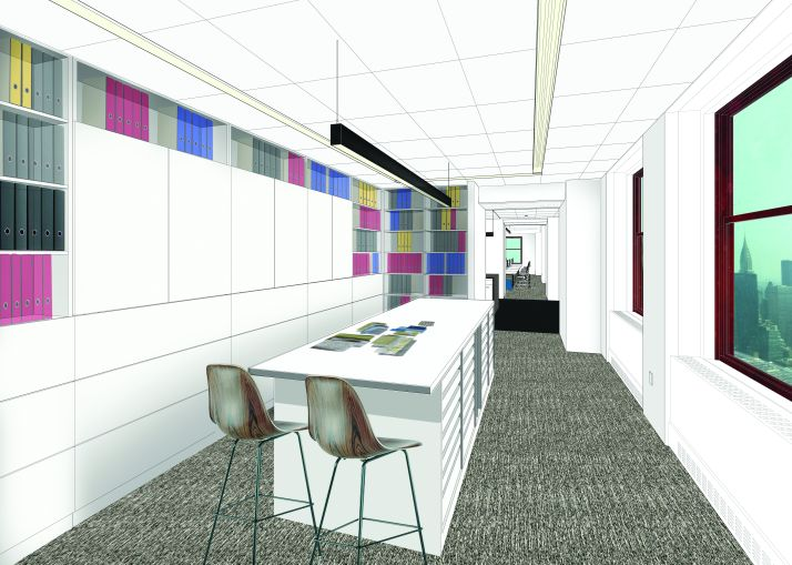 The library area will have less room for books than before (Rendering: Corgan).